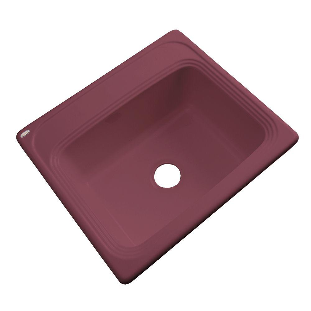 Thermocast Wellington Drop-In Acrylic 25 in. 0-Hole Single Bowl Kitchen Sink in Raspberry Puree