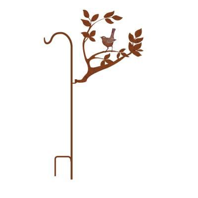 50 in. Tall Yellowish Brown Rust Steel Shepherd's Hook with Baby Robin on Branch