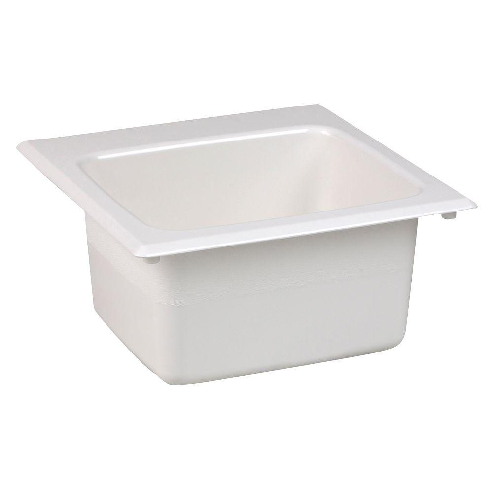 MUSTEE 15 in. x 15 in. Fiberglass Self-Rimming Bar Sink in White