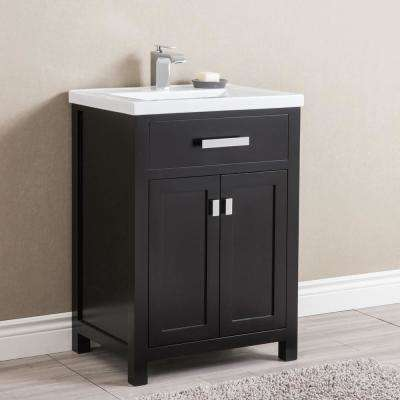 Myra 24 in. Bath Vanity in Espresso with Integrated Ceramics Vanity Top and Sink
