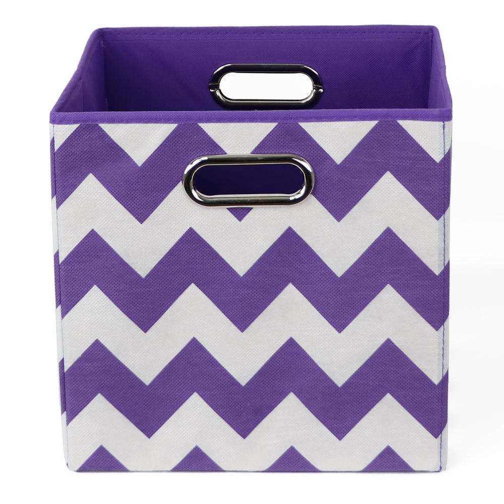 Color 10.5 in. x 10.5 in. x 10.5 in. Chevron Folding Pop Purple Fabric Storage Bin