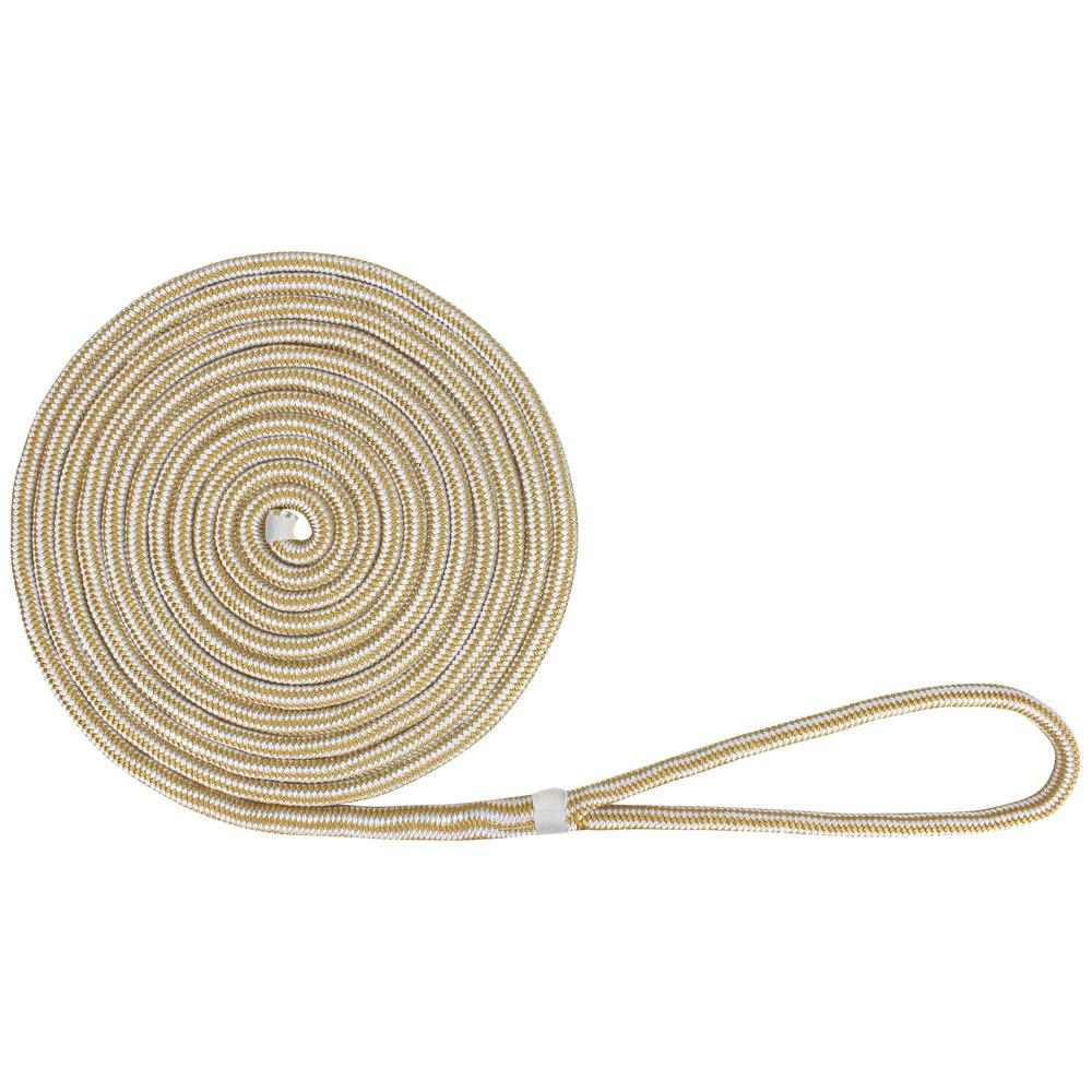 Extreme Max BoatTector 5/8 in  x 25 ft  Double Braid Nylon Dock Line in  White and Gold