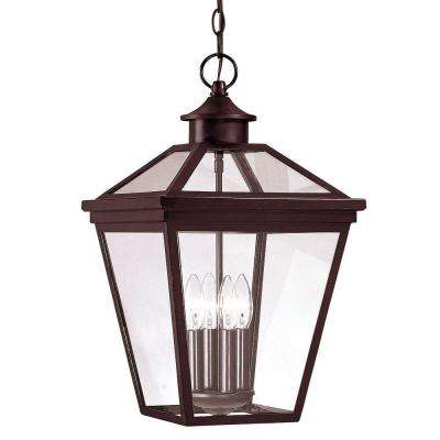 4-Light Outdoor Hanging English Bronze Lantern with Clear Glass