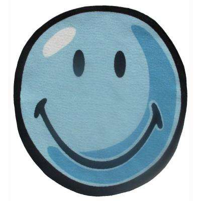 Smiley Blue 39 in. Round Area Rug