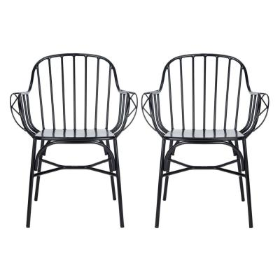 Tucker Matte Black Stackable Metal Outdoor Dining Chair (2-Pack)