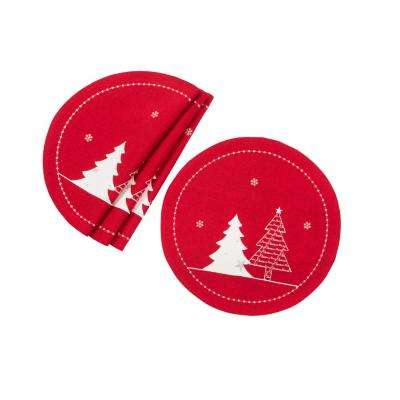 0.1 in. H x 16 in. W Round Lovely Christmas Tree Embroidered Double Layer Placemat in Red (Set of 4)