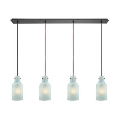 Weatherly 4-Light Linear Pan in Oil Rubbed Bronze with Chalky Seafoam Glass Pendant
