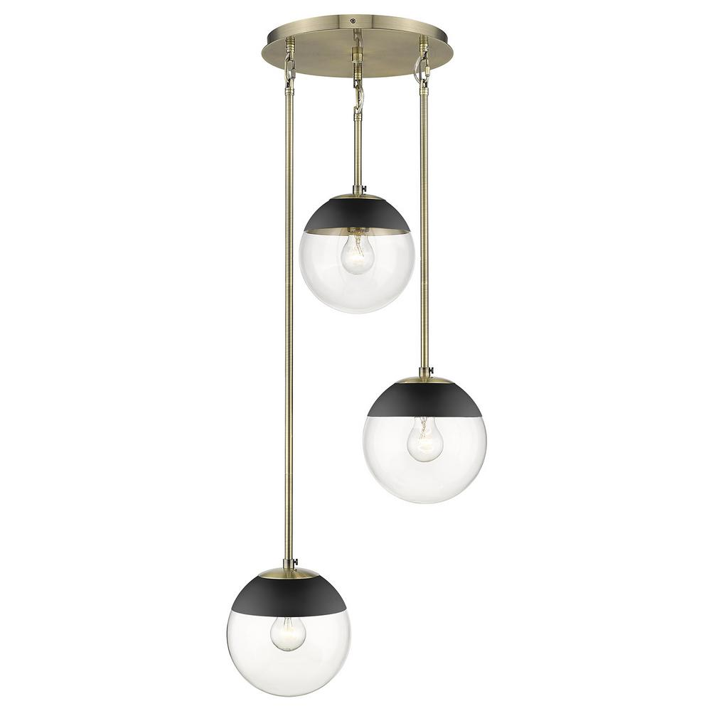 Golden Lighting Dixon 3-Light Aged Brass Pendant with Clear Glass and Black Cap