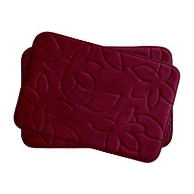 Blowing Leaves Red 17 in. x 24 in. Memory Foam 2-Piece Bath Mat Set