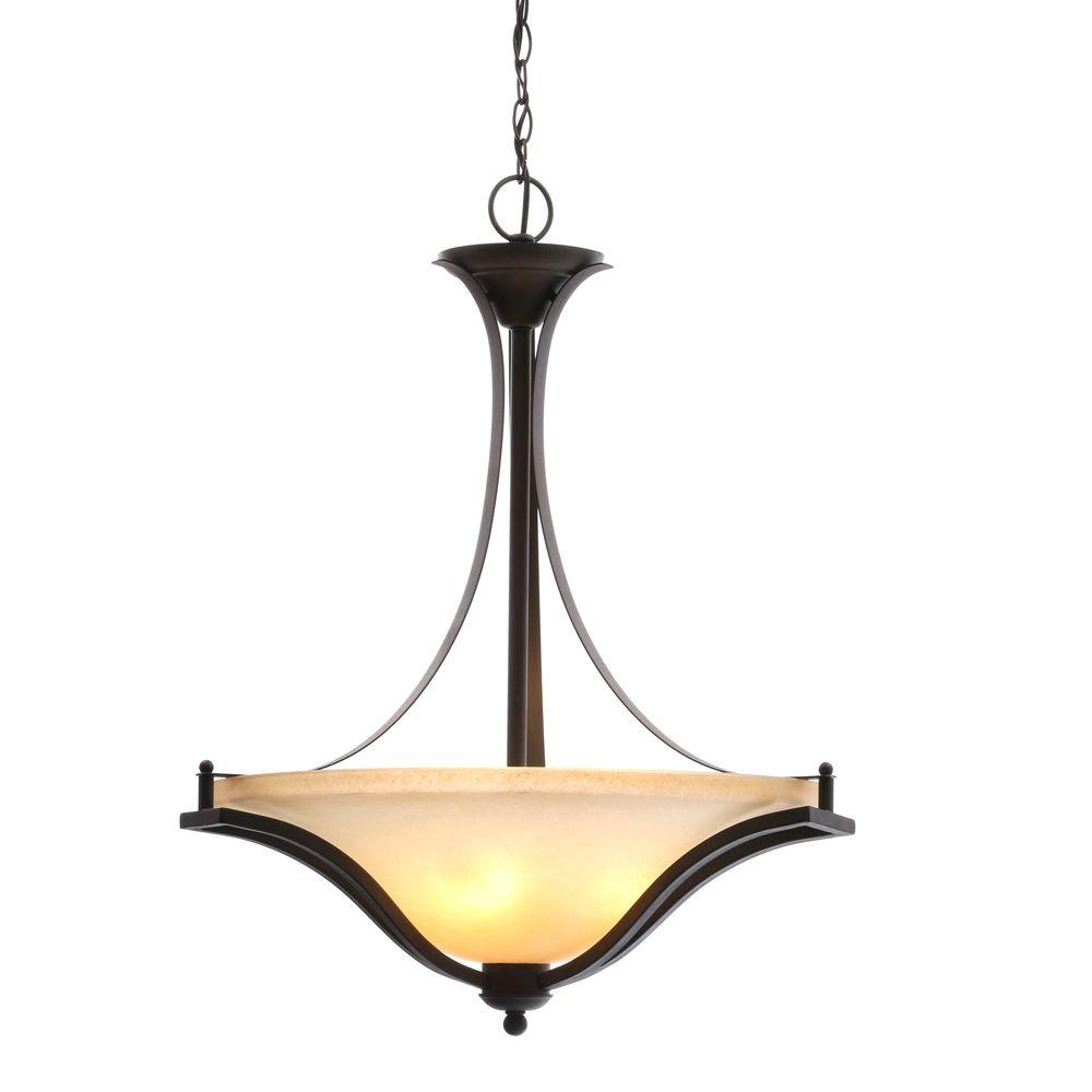 Commercial Electric 3 Light Rustic Iron Pendant With Antique Ivory Gl Shade
