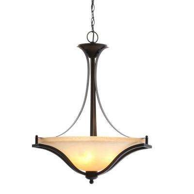 3-Light Rustic Iron Pendant with Antique Ivory Glass Shade