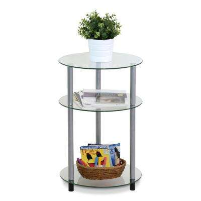 Kaca Clear Round Glass Side Table