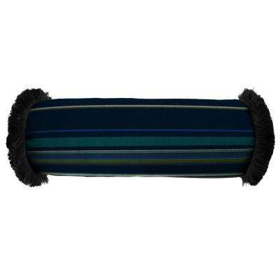 Sunbrella 7 in. x 20 in. Stanton Lagoon Bolster Outdoor Pillow with Black Fringe