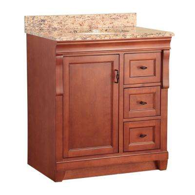 Naples 31 in. W x 22 in. D Bath Vanity in Warm Cinnamon with Right Drawers and Stone Effects Vanity Top in Santa Cecilia