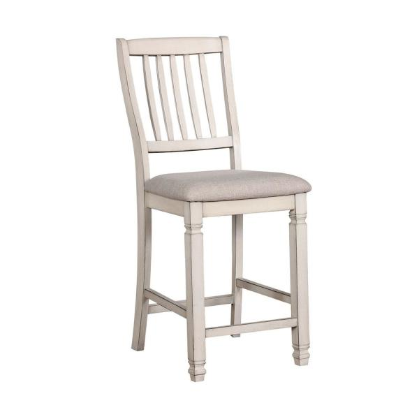 Kaliyah Counter Ht. Chair in Antique White finish