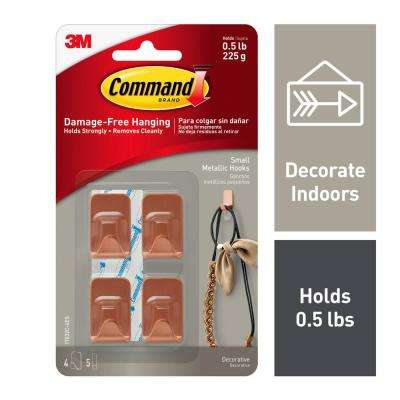 Copper Small Metallic Hooks (4-Hooks and 5-Adhesive Strips)