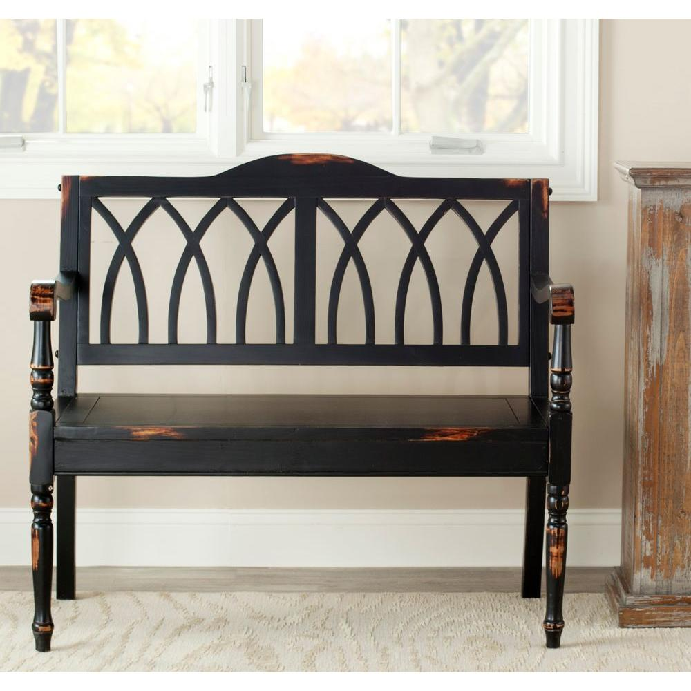 SAFAVIEH Safavieh Benjamin Distressed Black Bench