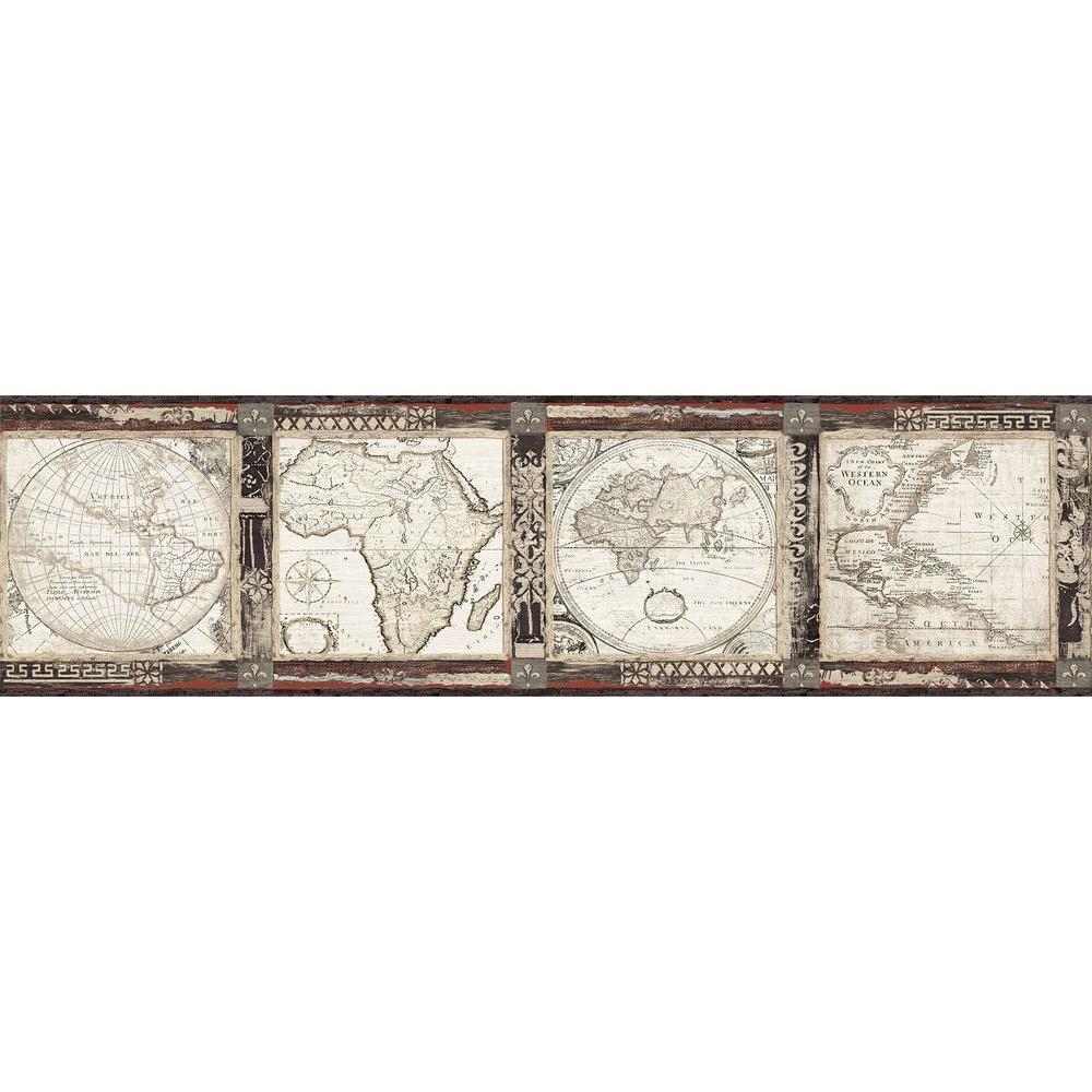 Oliver Map Wallpaper Border