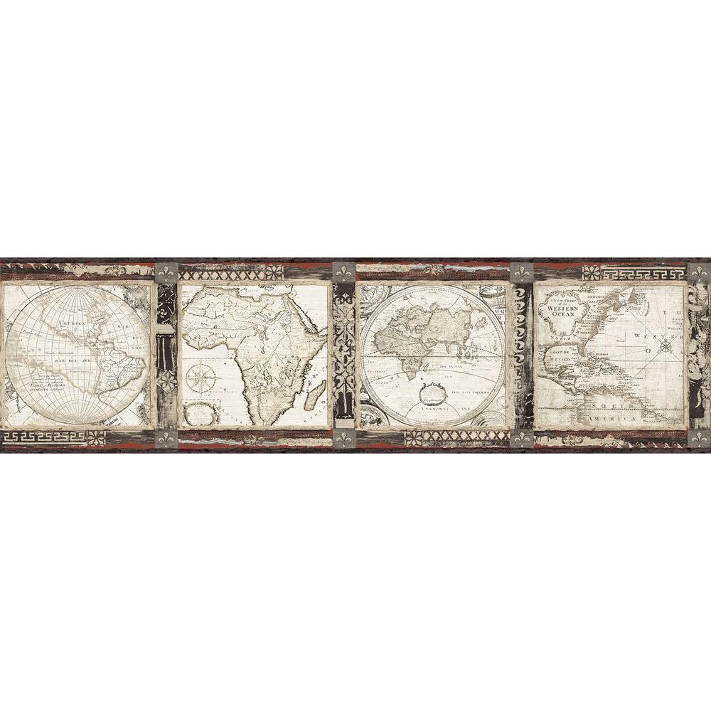 Old world map wallpaper border home garden compare prices at chesapeake oliver black map wallpaper border sample gumiabroncs Image collections