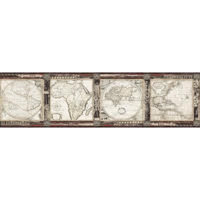 Oliver Black Map Wallpaper Border Sample