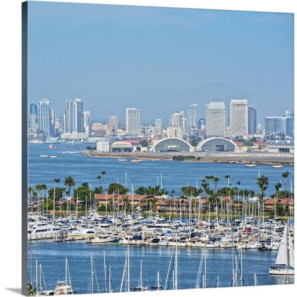 Greatbigcanvas 24 In X 24 In San Diego Skyline And Marina California Square By Circle Capture Canvas Wall Art 2522839 24 24x24 The Home Depot