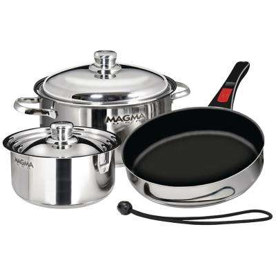 Slate Black Ceramica Non-Stick Induction Compatible Nesting 7-Piece Cookware in Stainless Steel