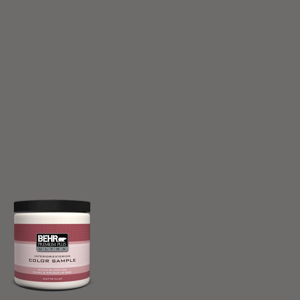 BEHR Premium Plus Ultra 8 oz. #780F-6 Dark Granite Matte Interior/Exterior Paint and Primer in One Sample