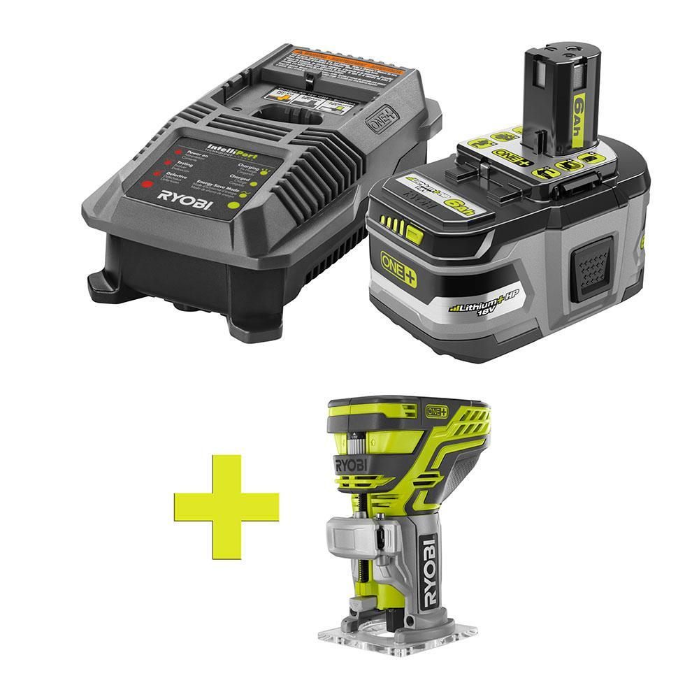 18-Volt ONE+ Lithium-Ion LITHIUM+ HP 6.0 Ah Starter Kit w/ Bonus ONE+ Fixed Base Trim Router