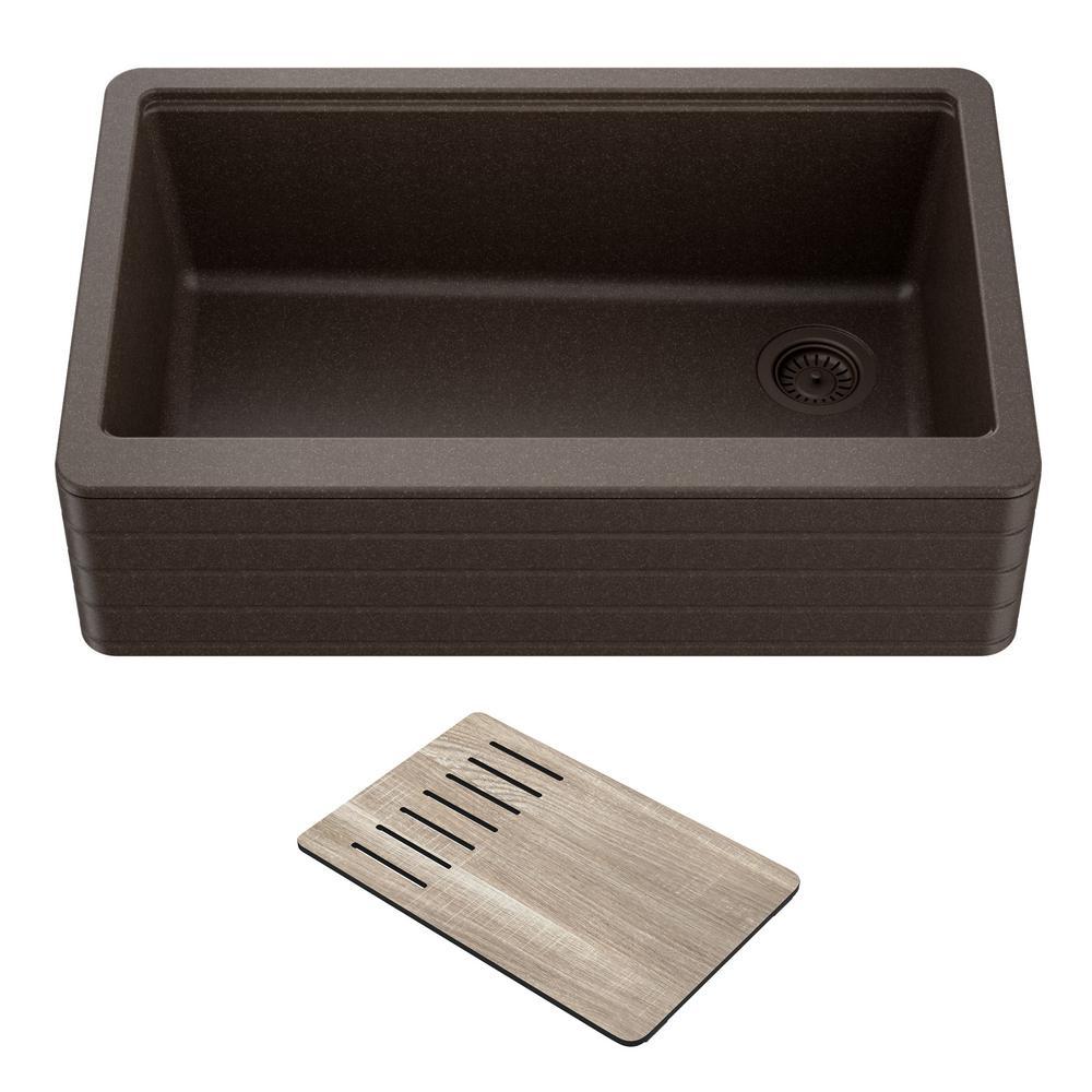 Bellucci29.75 in. Brown Granite Composite Single Bowl Farmhouse Apron Workstation Kitchen Sink with Accessories