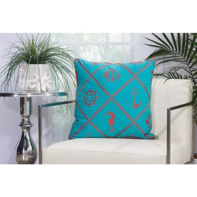 Nautical Diamonds Turquoise and Coral Animal Print Stain Resistant Polyester 20 in. x 20 in. Throw Pillow