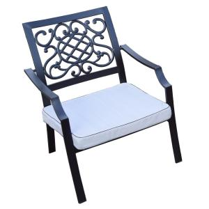 4-Piece Aluminum Outdoor Bistro Set with Oatmeal Cushions by