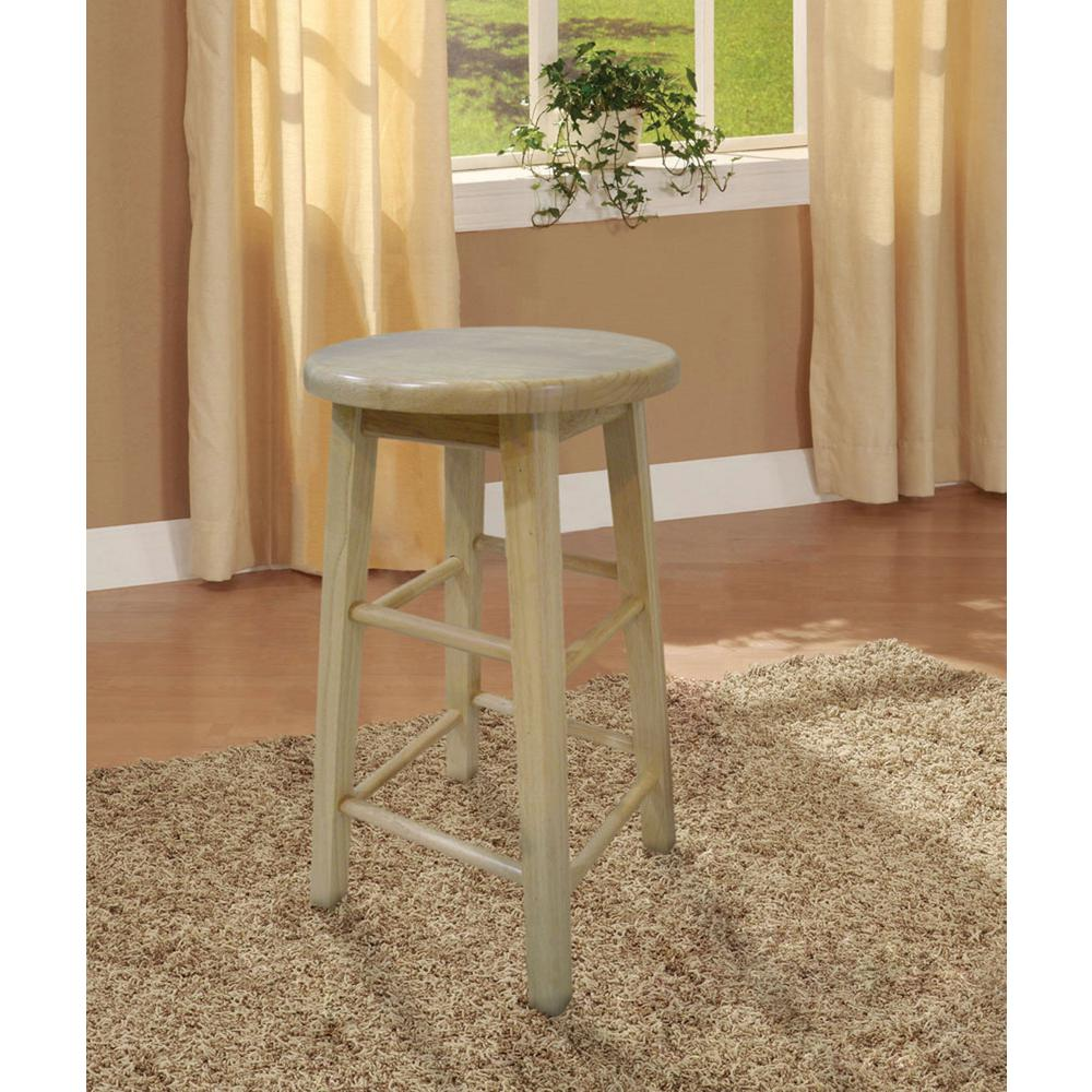 Linon Home Decor 24 in. Round Wood Bar Stool-98100NAT-01-KD - The ...