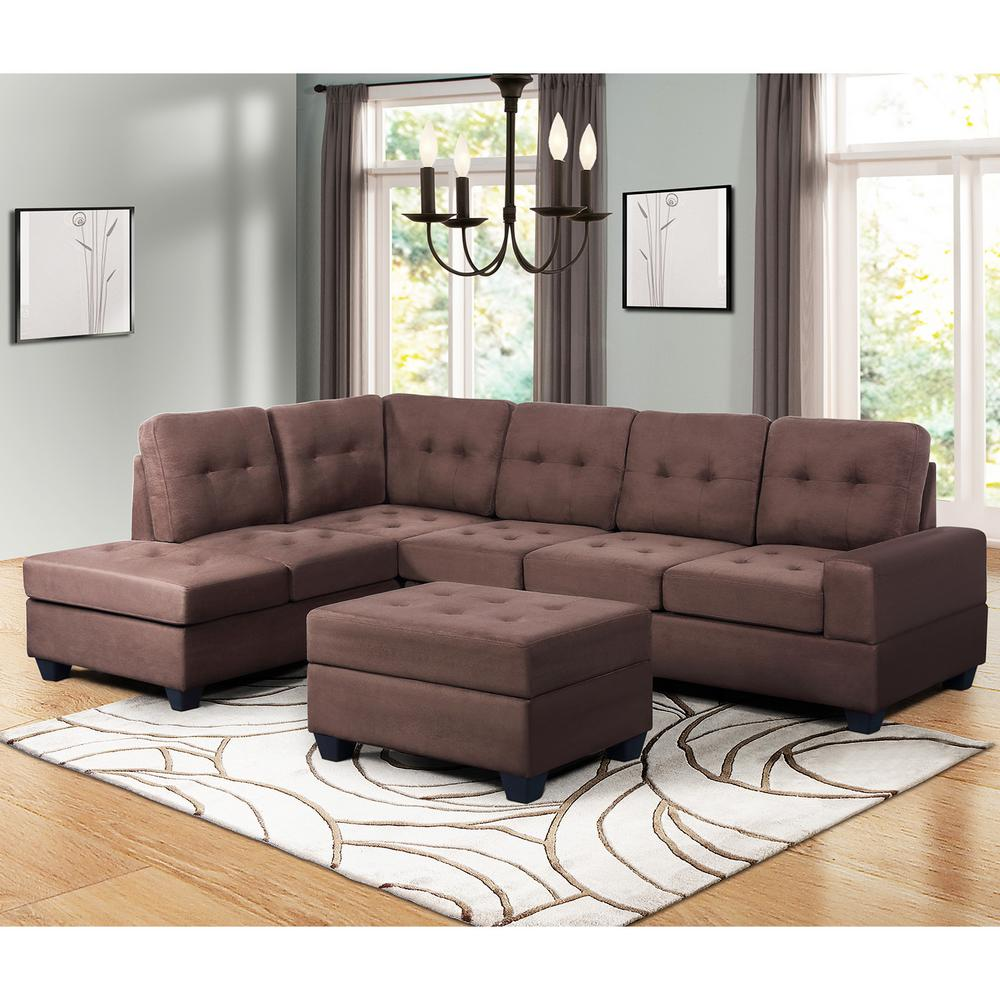 Harper Bright Designs Brown 3 Piece Microfiber Sectional With Reversible Chaise Lounge Storage Ottoman And Cup Holder Sk000001daa The Home Depot