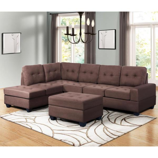 Harper & Bright Designs Brown 3-Piece Sectional Sofa Microfiber with Reversible Chaise Lounge Storage Ottoman and Cup Holders