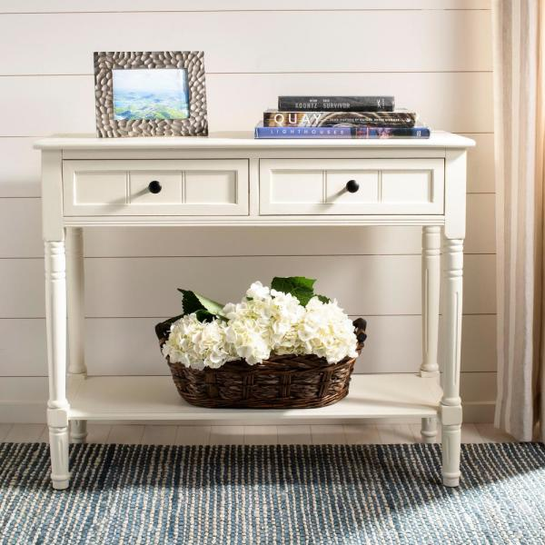 Samantha Distressed Cream Storage Console Table