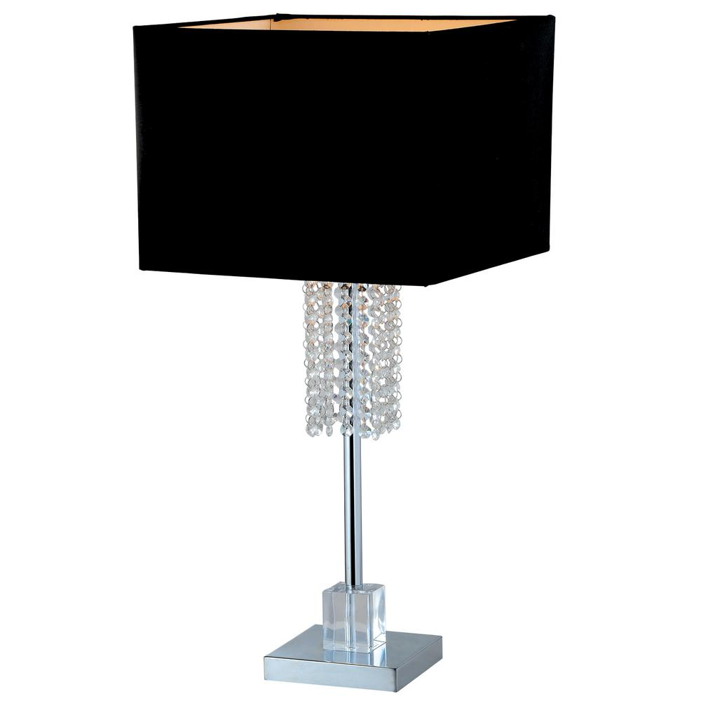 Square Modern Chrome And Black Crystal Table Lamp