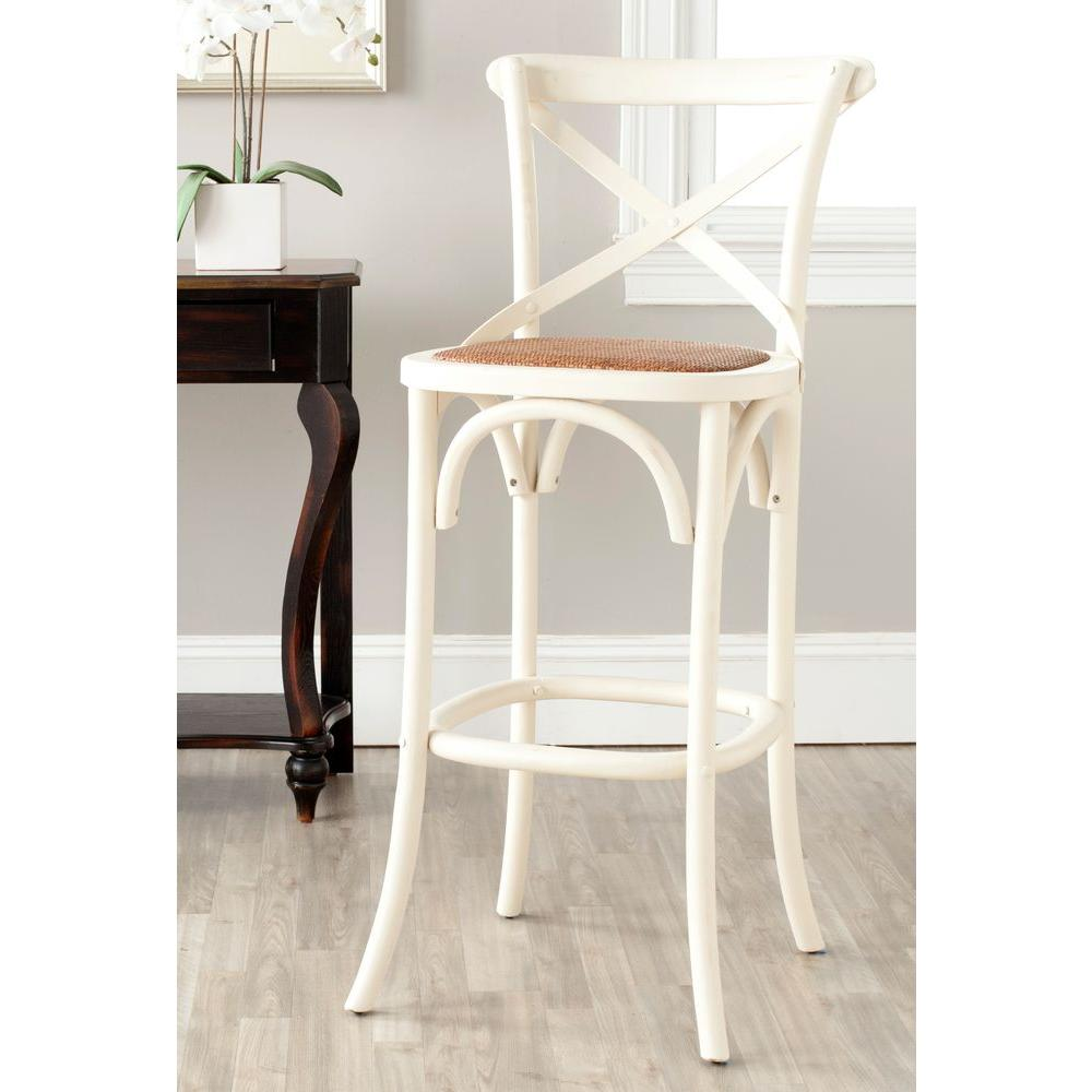 Groovy Details About Safavieh Bar Stool 30 7 Inch Ivory Finish Seat Pad Rattan Caning Footrest Back Lamtechconsult Wood Chair Design Ideas Lamtechconsultcom