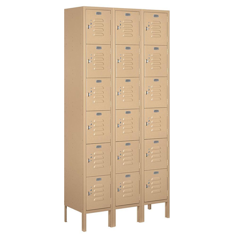 66000 Series 36 in. W x 78 in. H x 12 in. D Six Tier Box Style Metal Locker Unassembled in Tan