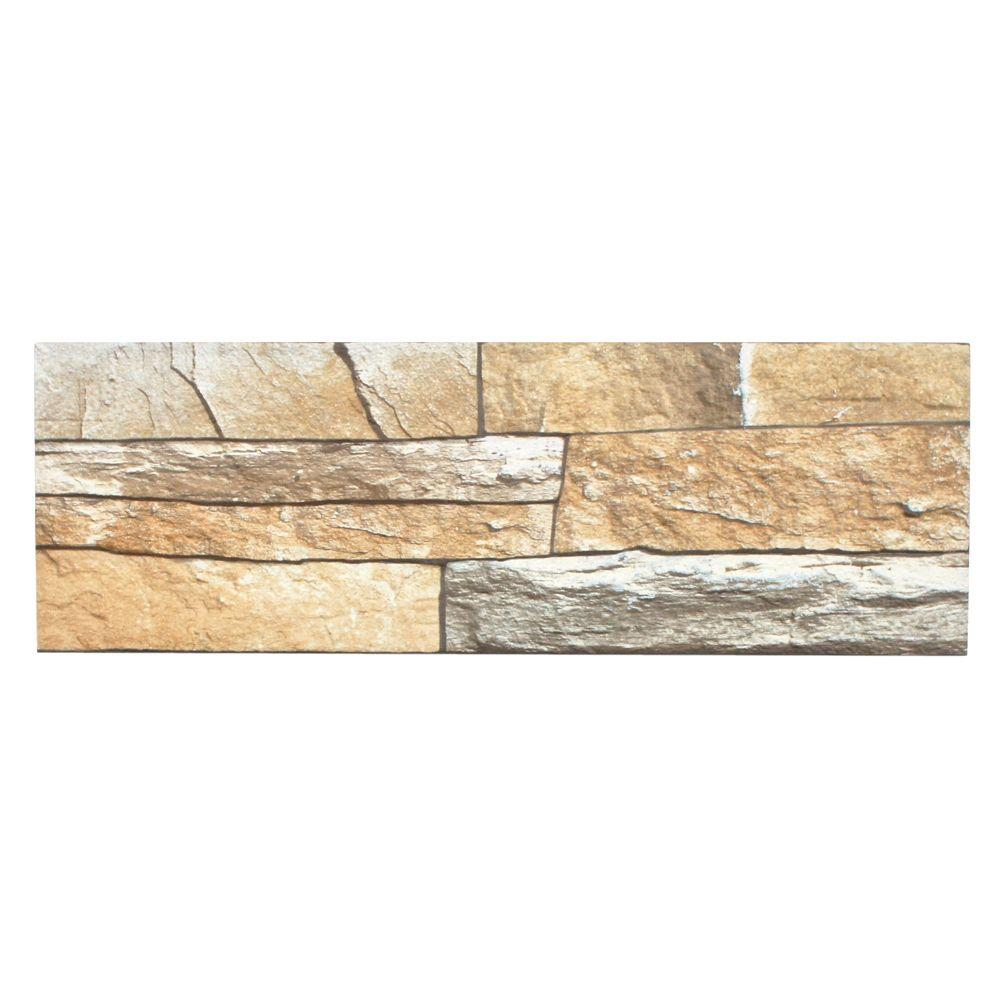 Merola Tile Neptuno Stone 6 in. x 17-3/4 in. Ceramic Wall Tile (11 sq. ft. / case)-DISCONTINUED