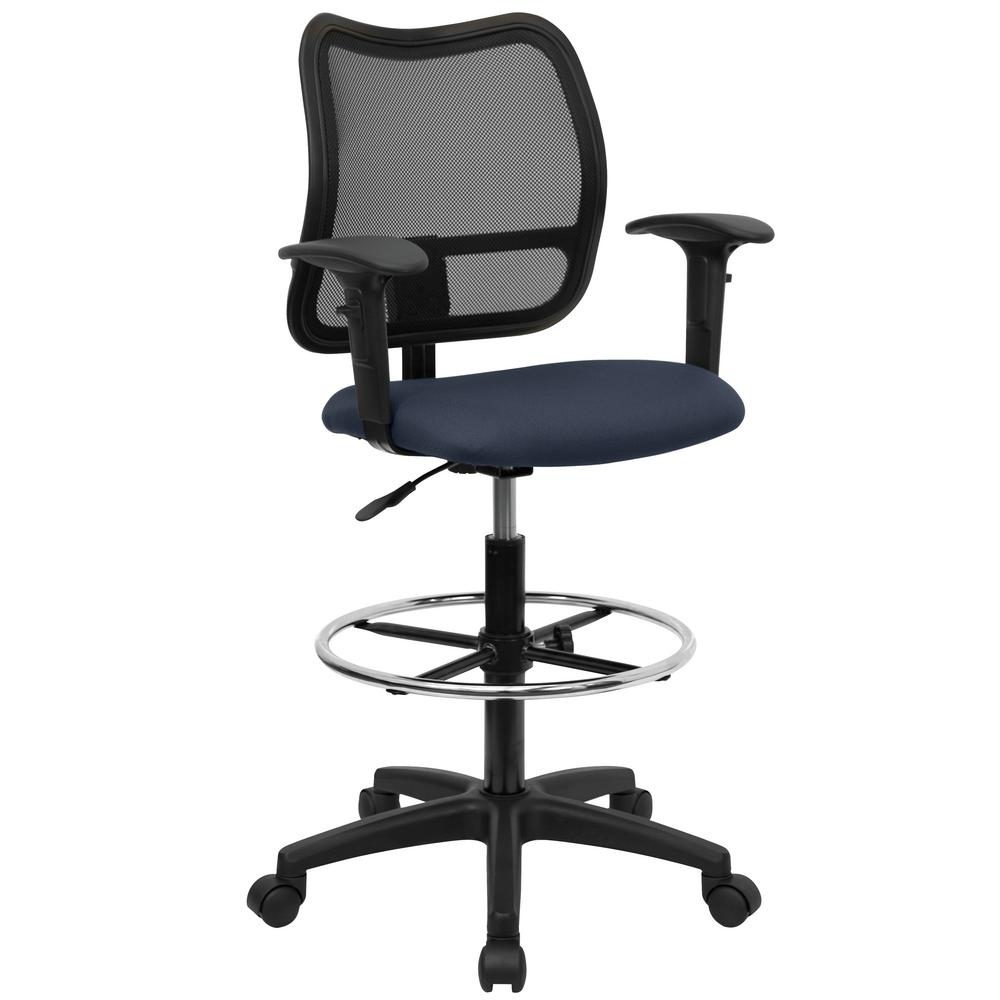 Flash Furniture Mid Back Mesh Drafting Chair With Navy Blue Fabric Seat And  Height Adjustable