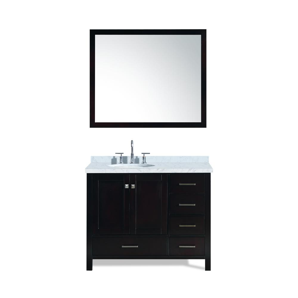 Ariel Cambridge 43 in. Bath Vanity in Espresso with Marble Vanity Top in Carrara White with White Basin and Mirror