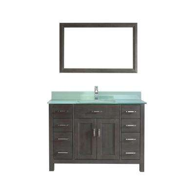 Kalize 48 in. Vanity in French Gray with Glass Vanity Top in Mint and Mirror