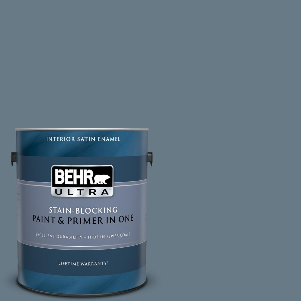 BEHR ULTRA 1 gal. #N490-5 Charcoal Blue Satin Enamel Interior Paint and Primer in One