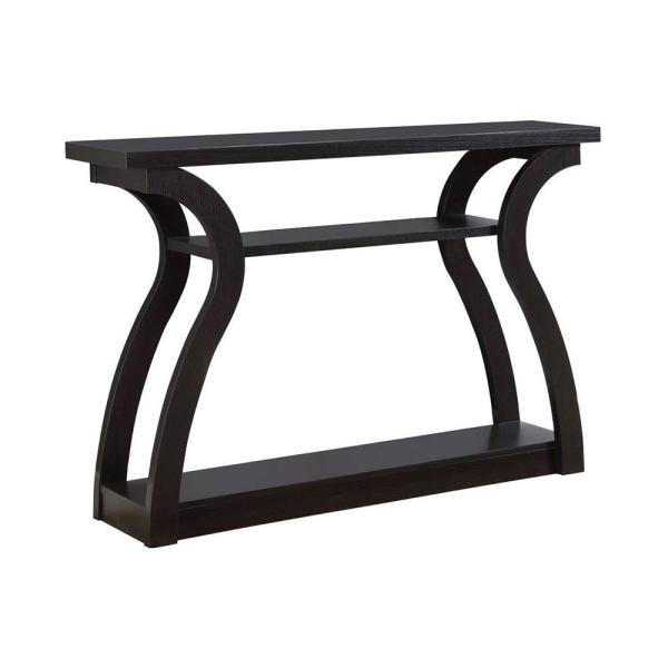 Monarch Specialties 3 Tiered Curved Console Table: Monarch Specialties Cappuccino Console Table HD2445
