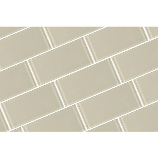 Abolos Metro Creme Subway 3 In X 6 In Glossy Glass Subway Tile 8 Pieces Pack Hmdmet0306 Cr The Home Depot