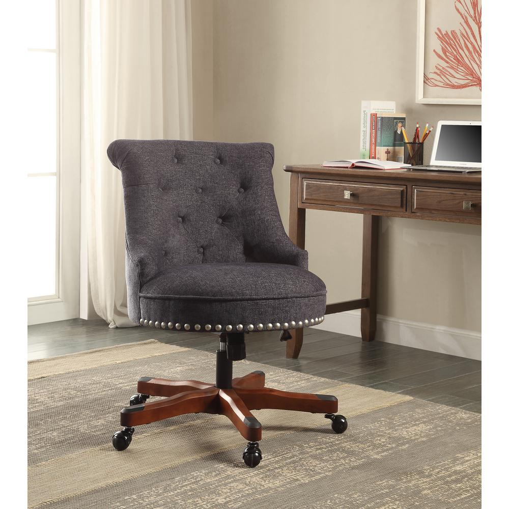 Linon Home Decor Sinclair Dark Blue Office Chair With Dark Walnut Wood Base