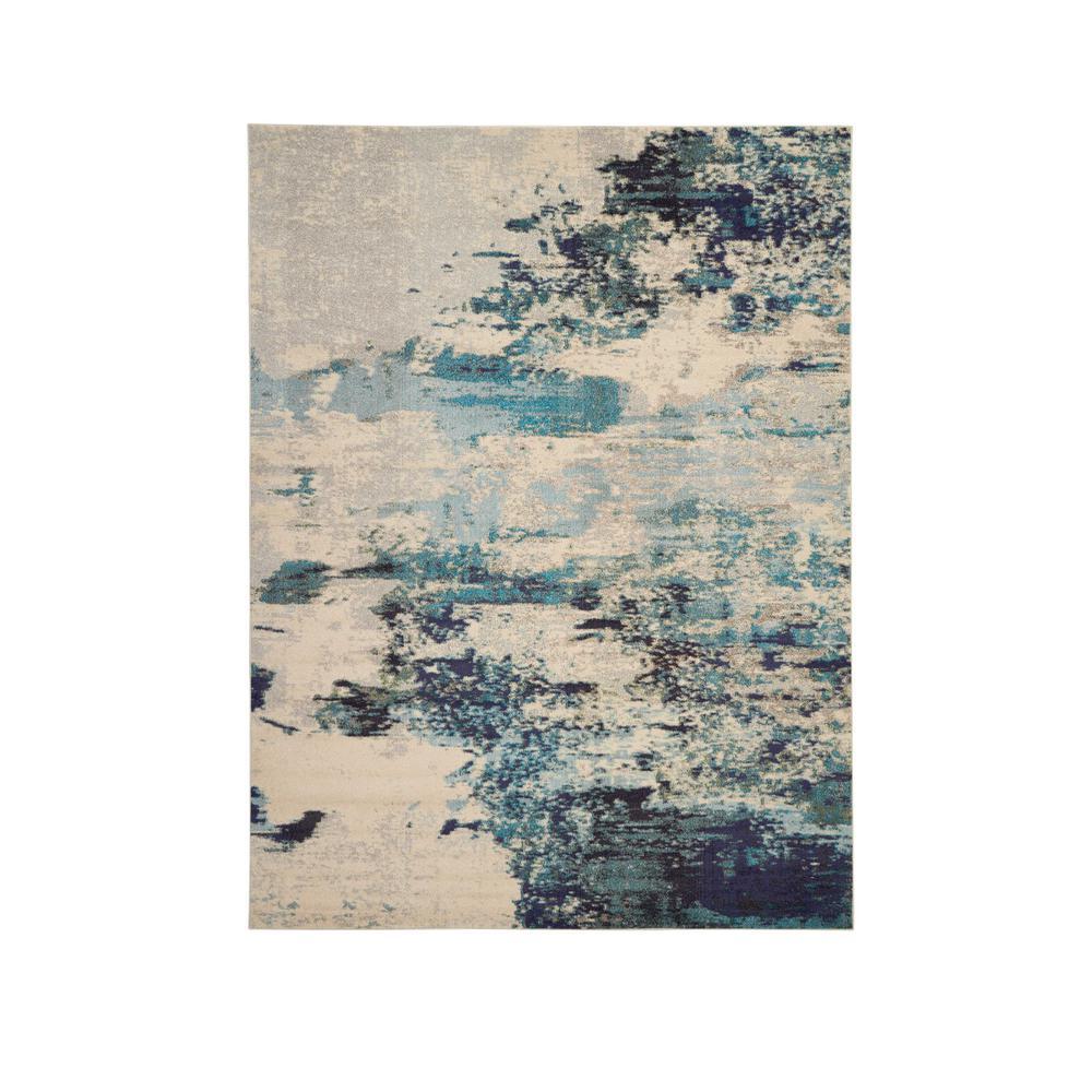 Celestial 9' x 12' Blue and White Beach Area Rug
