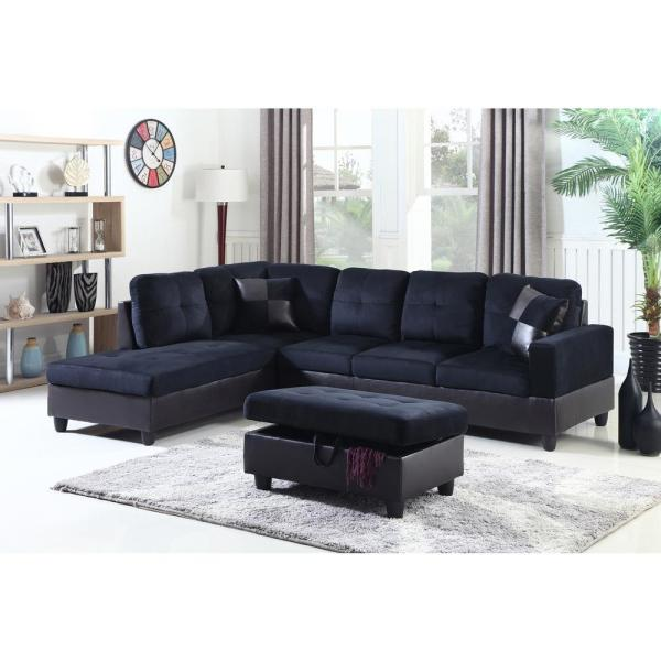 Remarkable Midnight Blue Microfiber And Faux Leather Left Chaise Sectional With Storage Ottoman Machost Co Dining Chair Design Ideas Machostcouk