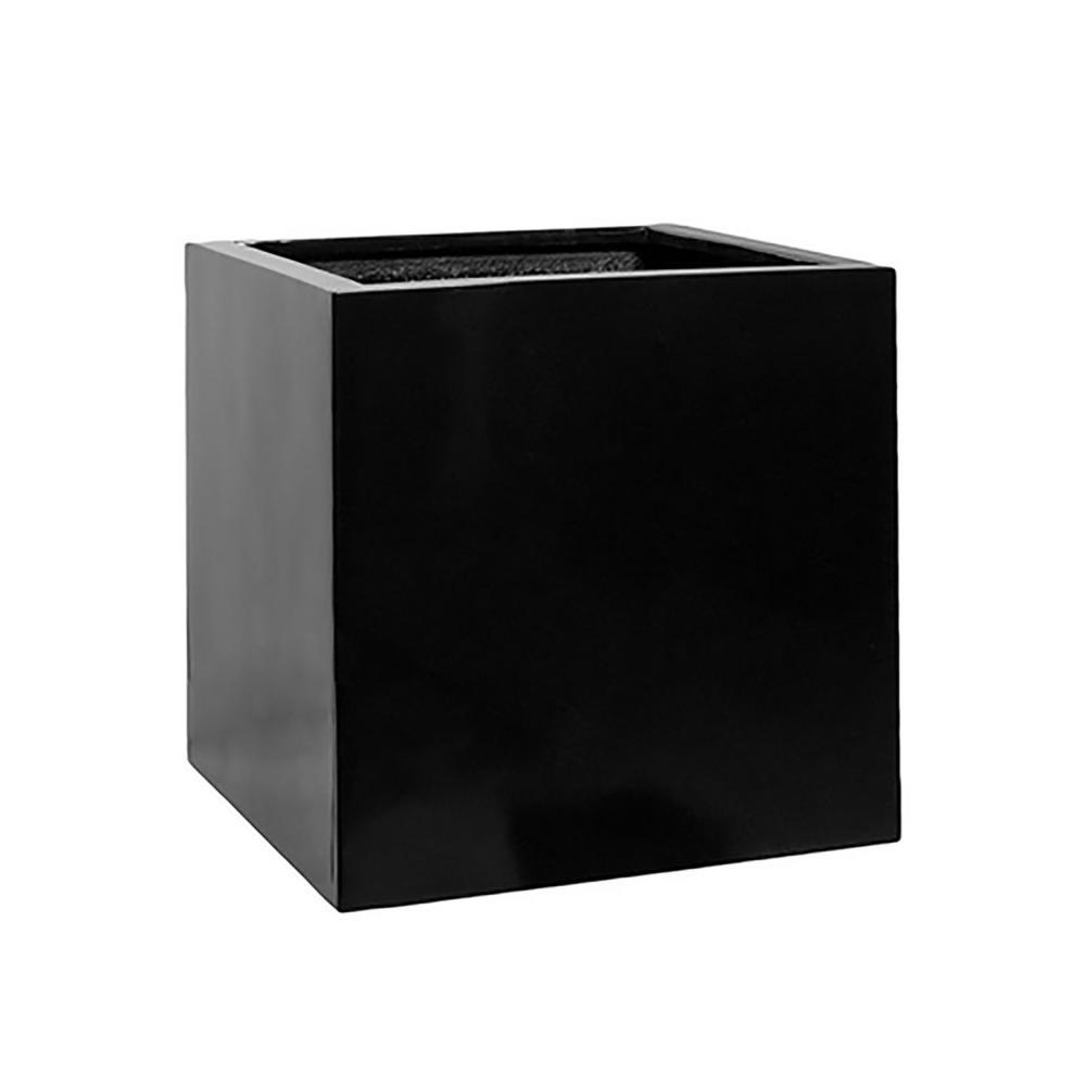 20 in. x 20 in. Matte Black Fiberstone Square Cube Planter