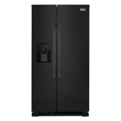 25 cu. ft. Side by Side Refrigerator in Black with Exterior Ice and Water Dispenser